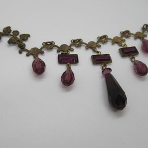 Jewelry - Vintage Filigree Necklace with Purple Drops